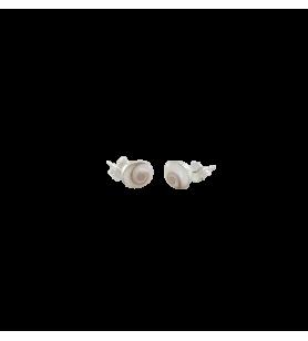 Boucles d'oreilles clous ovales en argent avec œil de sainte Lucie de méditerranée  - Boucles d'oreilles clous ovales en argent