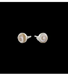 Boucles d'oreilles clous ronds en argent avec oeil de sainte Lucie de méditerranée