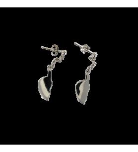 Boucles d'oreilles clous carte Corse pendante avec chainette en Argent Rhodié  - Boucles d'oreilles clous carte Corse pendante a