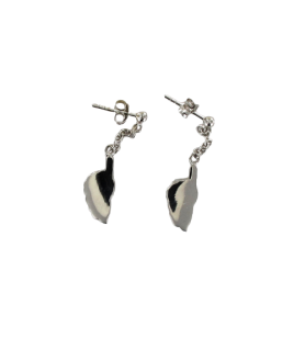 Corsica card stud earrings with chain in Silver Rhodium 26.9