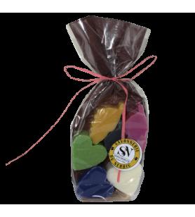 Bolsa de 6 minijabones en forma de Córcega o de corazón  - Bolsa de 6 minijabones en forma de Córcega o de corazón Surtido de pe