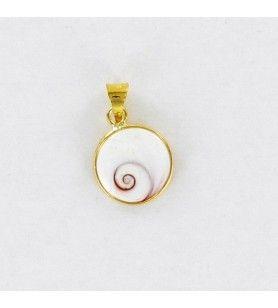 Colgante ojo mediterráneo de Santa Lucía bañado en oro, diseño redondo mediano  - 1