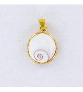 Colgante ovalado de ojo de santa lucia bañado en oro  - 1