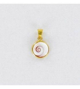 Colgante ojo de santa lucia del mediterráneo modelo redondo pequeño engarzado Chapado en oro  - 1