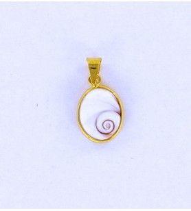 Colgante ovalado ojo de santa lucie modelo pequeño bañado en oro  - 1