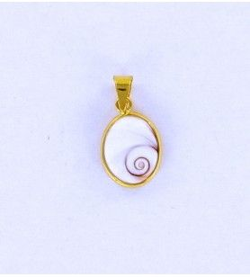 Ovaler mediterraner Sankt-Lucie-Augen-Anhänger kleines Modell vergoldet  - Ovaler mediterraner Sankt-Lucie-Augen-Anhänger kleine