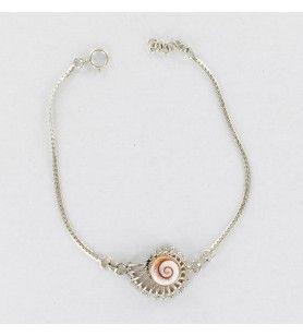 Bracelet en argent forme coquillage et œil de sainte Lucie de méditerranée  - Bracelet en argent forme coquillage et œil de sain