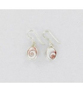 Oval silver earrings with mediterranean saint lucia eye small model  - Oval silver earrings with mediterranean saint lucia eye s