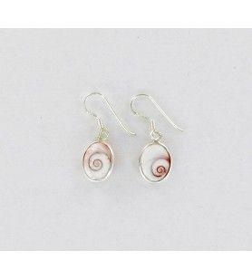 Orecchini ovali in argento con occhio di santa lucia mediterraneo modello piccolo  - Orecchini ovali in argento con occhio di sa
