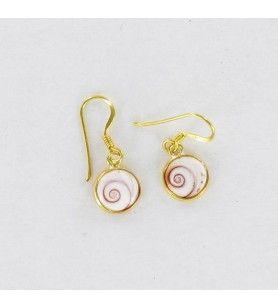 Vergulde ronde oorbellen met mediterraan saint lucia oog klein model  - Vergulde ronde oorbellen met mediterraan saint lucia oog