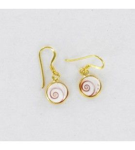 Gold plated round earrings with mediterranean saint lucia eye small model  - Gold plated round earrings with mediterranean saint
