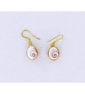 Gold plated oval earrings with mediterranean saint lucia eye small model  - Gold plated oval earrings with mediterranean saint l