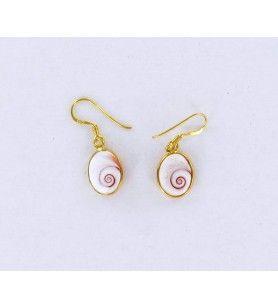 Vergoldete ovale Ohrringe mit mediterranem Sankt-Lucia-Auge kleines Modell  - Vergoldete ovale Ohrringe mit mediterranem Sankt-L